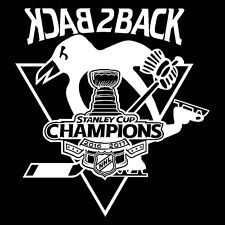 2016 2017 STANLEY CUP CHAMPION PITTSBURGH PENGUINS BACK2BACK VINYL DECAL STICKER