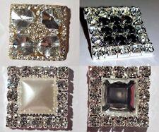 Lots of 2, 4 Silver Gold Metal Square Rhinestone Crystal Flat Back Embellishment