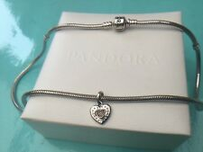 "Women's Pandora 18"" Charm Necklace With 14K Heart Pendant Sterling Silver"