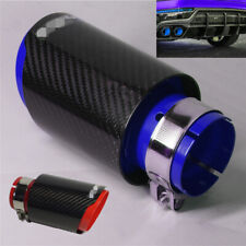 "Universal Black+Blue Car Exhaust Muffler Tip Stainless Steel+Carbon Fiber 2.5"""