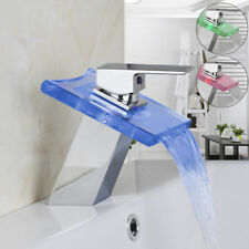 EUB LED Modern Glass Spout Waterfall Bathroom Faucets Mixer Taps Chrome Finished