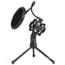 Microphone Mic Shock Mount Studio Desktop Table Top Tripod Stand w/ Pop Filter