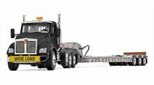First Gear 1/50 Black Tri-axle Kenworth T880 Day CAB With Silver Talbert Lowboy