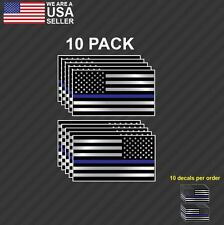 10 pk Police Officer Thin Blue Line American Flag decal sticker graphic REVERSED