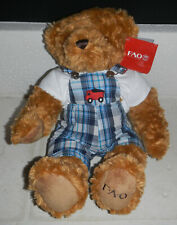 "Nwt Fao Schwarz 12"" Plush Teddy Bear wearing Overalls"