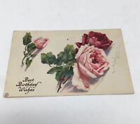 Vintage 1935 Happy Birthday Greeting Card Postcard Pink Roses postmarked