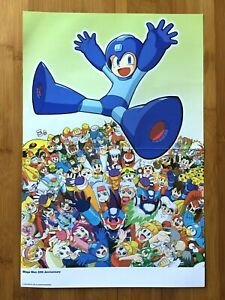 2008 Official Mega Man 20th Anniversary Double Sided Poster Authentic Star Force
