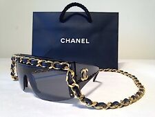 CHANEL Vintage Long Chain Sunglasses In Black & Gold - AUTHENTIC - US Seller