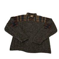 Woolrich Mens Size XL 1/4 Zip  Sweater 100% Wool Brown Hand knit Vintage
