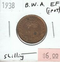 British West Africa 1 Shilling 1938 XF Extra Fine