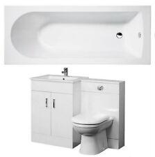 Bathroom Suite 1700mm Bath 500mm Turin Vanity Unit 500x200mm WC Unit BTW Pan