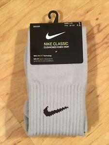 Nike Classic Cushioned Knee High Soccer Socks SMALL Youth 3Y-5Y Light Gray