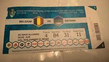 TICKET : BELGIQUE - ESTONIE 13-11-2016 WORLD CUP 2018