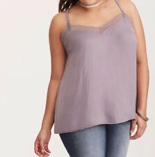 Torrid Satin Lace Trim Cami Gray 00X Med Large 10 00 #26461