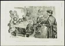 1889 antique print-London Stepney ST PHILIPS enfants pauvres Dîner Table (291)