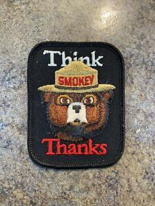 Vtg 70s Smokey The Bear Prevent Forest Fires Think Thanks Dept Ag Patch