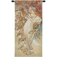 FOUR SEASONS Alhonse Mucha Wall Tapestry Painting ?The Spring in pastel colors