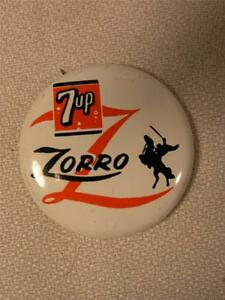 ORIGINAL 1957 DISNEY ZORRO 7up SODA PROMOTIONAL PIN / PINBACK