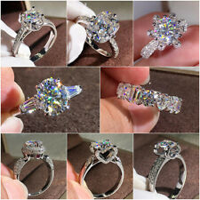 8 Styles 925 Silver Rings Women White Sapphire Wedding Engagement Ring Size 6-10