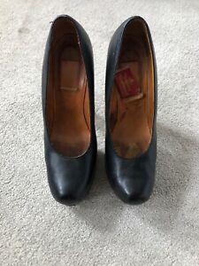 Iconic 90's Black Leather Vivienne Westwood High Platform Shoes Size 5