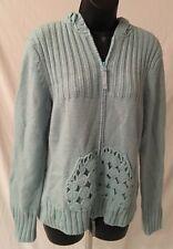 Women's Cabela's Acrylic Knit Zip Up Zip Down Baby Blue Sweater Sz Lg Reg