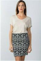 Short Pencil Mini Skirt High Waist Fitted Black Ivory Geometric Womens M NWT