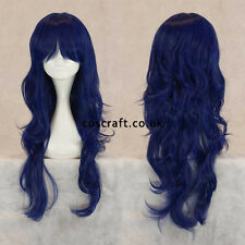 Long wavy curly cosplay wig with fringe in midnight blue UK SELLER Charlie style
