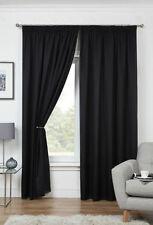 Rideaux et cantonnières noir prêt à l'emploi en polyester pour la maison