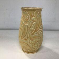 "Vtg Wade Heath ""Gothic"" Pattern Ceramic Vase Orange Stamped 360 England #404"
