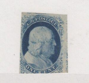 USA 1852 1c Type IV Imperf Sc#9 SG11 Cat £700 MLH JK4686
