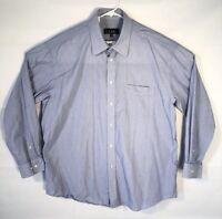 Men Nicole Miller New York 17.5 34/35 XL  Dress Shirt Button Up Blue Striped L/S