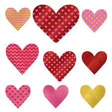 9 X Rouge & Rose Coeur Scintillant Découpe Décorations Différents Modèles &