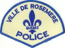 Ville de Rosemere Police, Quebec, Canada HTF Vintage Uniform/Shoulder Patch