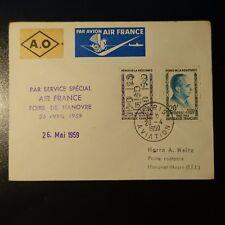 AVIACIÓN LETRA COVER VUELO ESPECIAL FERIA HANNOVER 1959