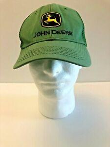 John Deere Snapback Trucker Mesh Hat Cap Green Patch One Size Flaw