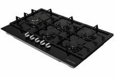 Russell Hobbs RH86GH701B Black Glass Hob 5 Gas Burners Manual Dial Control