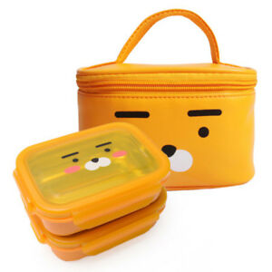 Kakao Friends - RYAN Double lock 304 Stainless Steel Lunch Box Kit Character Bag