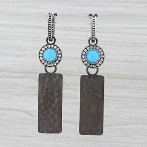 New Nina Nguyen Hoop Charm Drops Earrings Sterling Silver Turquoise Moonstone