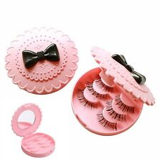 Pink False Eyelashes Case Storage Mirror Box Eye Lashes Beauty Makeup