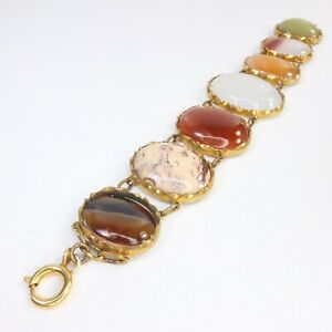 Antique Victorian Scottish Agate Bracelet Gilt Metal/Pinchbeck Carnelian/Jasper