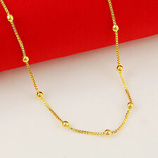 """Women's 18K Yellow Gold plating Bead Station Necklace, 18"""""""