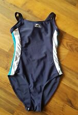 LADIES SLAZENGER BLUE MIX RACING BACK SWIMMING COSTUME SIZE 8