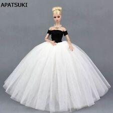 Black White Wedding Dress for Barbie Doll Princess Clothes for Barbie Dollhouse
