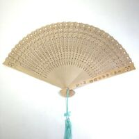 Vintage Chinese Asian Cut Bamboo Wood Folding Hand Fan With Box