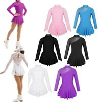 Girls Figure Ice Skating Dress Ballet Leotard Kids Long Sleeve Dancewear Costume