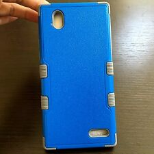 For ZTE Warp Elite N9518 - HARD & SOFT RUBBER HYBRID PHONE CASE COVER BLUE GRAY