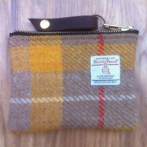 Yellow Harris tweed coin purse, tartan purse, plaid purse, gift for her