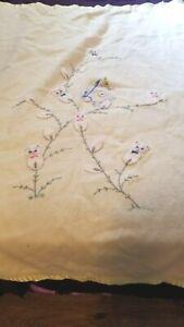 Vintage Animal Cat Kittens Satin Trim BAby Crib Blanket Embroidered 37 X 50
