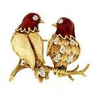 Vintage 18k Gold Red Enamel Round Diamond Pair Love Birds Textured Branch Brooch