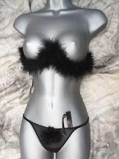 Ladies Black Sexy Marabou Feather Bra and G String  bra size 34 G string 10/12